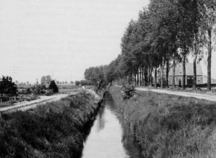 Turfvaart genaamd Monnikenriool in het westen van Etten (N.Br) in 1985. Gegraven in 1297 door mensen van de abdij Ter Doest voor de Brugse compagnie van Sint-Janshospitaal, Heiliggeesthuis en een particulier. © K.A.H.W. Leenders